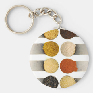 Especias de las hierbas y ingredientes pulverizado llavero redondo tipo chapa