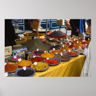 Especias, día de mercado, Aix-en-Provence, Francia Póster