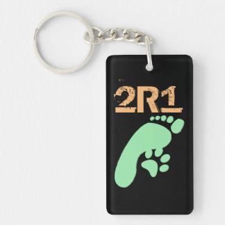 especie 2R1 2 - 1 pensamiento Llavero Rectangular Acrílico A Doble Cara