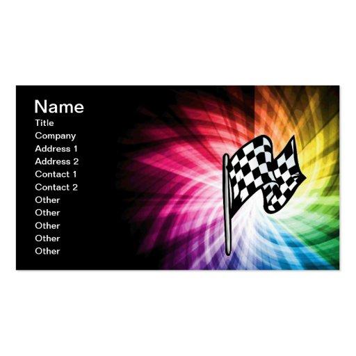 Espectro a cuadros de la bandera tarjeta de visita