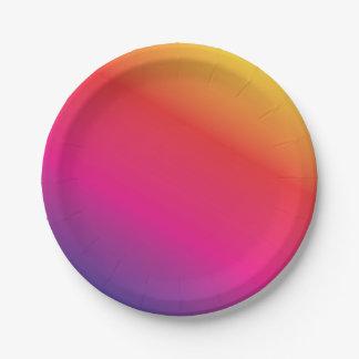 Espectro del arco iris colorido plato de papel