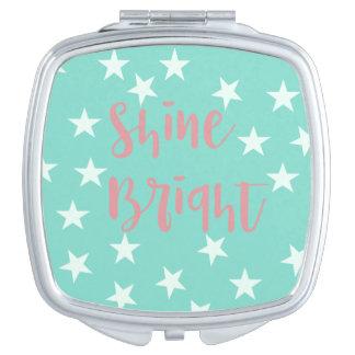 Espejo brillante de la tipografía del brillo espejos maquillaje