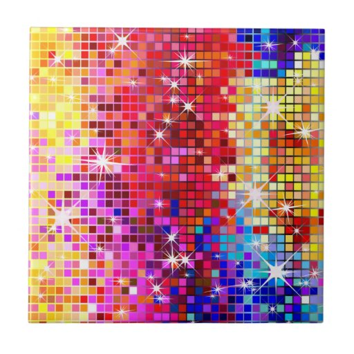 Espejo colorido del disco azulejo cuadrado peque o zazzle for Espejos cuadrados pequenos