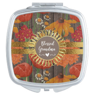 Espejo Compacto Abuela bendecida madera rústica floral anaranjada