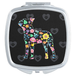 Espejo Compacto Amor lindo mi diseño floral de Boston Terrier
