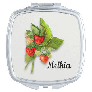 Espejo Compacto Bayas de ruborización, fresa del vintage botánica