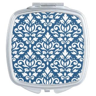 Espejo Compacto Blanco de Ptn del damasco de la voluta en azul de