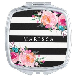 Espejo compacto blanco del negro floral rosado de