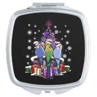 Espejo Compacto Budgerigars con el navidad regalo y copos de nieve