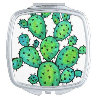 Espejo Compacto Cactus espinoso de la acuarela magnífica