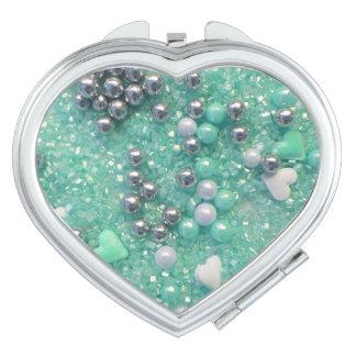 Espejo Compacto Chispas del verde y corazones del amor