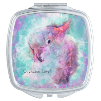 Espejo Compacto Cockatoo de la acuarela