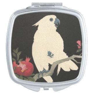 Espejo Compacto Cockatoo japonés de la bella arte el   del vintage