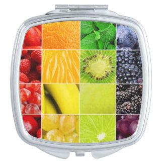 Espejo Compacto Collage colorido multi de la fruta