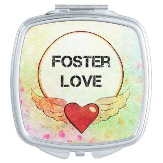 Espejo Compacto Corazón adoptivo de la acuarela del amor