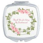 Espejo Compacto Dama de honor, rosas rosados florales, de encargo,