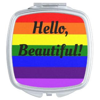 Espejo compacto del arco iris LGBT hola hermoso