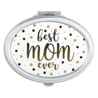 Espejo Compacto El mejor negro siempre de oro de la mamá puntea el