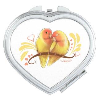 Espejo Compacto El melocotón hizo frente a los Lovebirds de Lutino