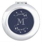 Espejo Compacto Elegante monograma con flores y chevrón azul