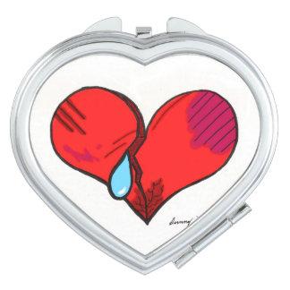 """Espejo compacto en forma de corazón del """"corazón"""
