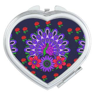 Espejo Compacto Espejo del acuerdo del corazón del pavo real