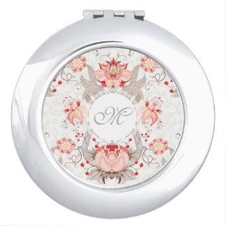 Espejo Compacto Espejo elegante del monograma del damasco del