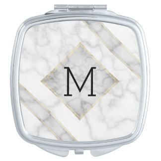 Espejo Compacto Falso mármol blanco y alabastro beige con el