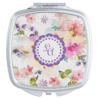 Espejo compacto floral personalizado