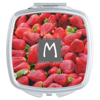 Espejo Compacto fotografía rosada oscura deliciosa de las fresas