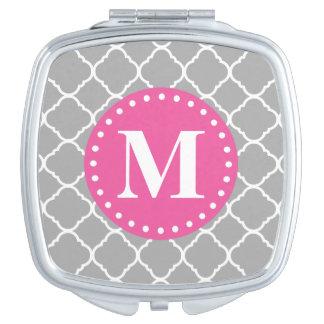 Espejo Compacto Monograma gris del rosa del modelo de Quatrefoil d