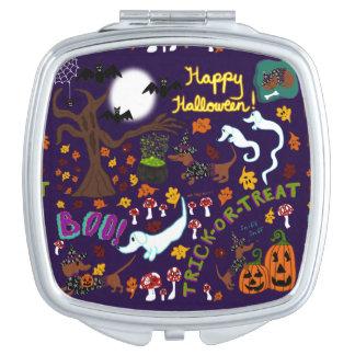 Espejo Compacto Halloween del Dachshund de la diva