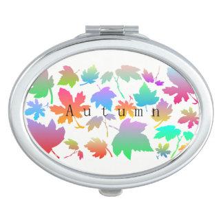 Espejo Compacto Hojas de otoño coloridas
