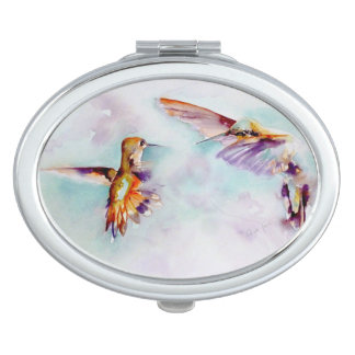 Espejo Compacto Impresión crepuscular del colibrí de los