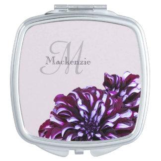 Espejo Compacto La dalia púrpura elegante florece nombre del