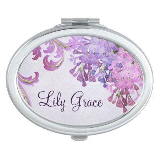 Espejo Compacto Lilas púrpuras personalizadas