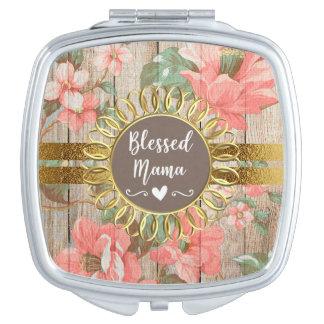 Espejo Compacto Mamá bendecida oro de madera rústico floral rosado