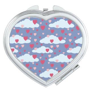 Espejo Compacto Modelo azul de los corazones de Сloud