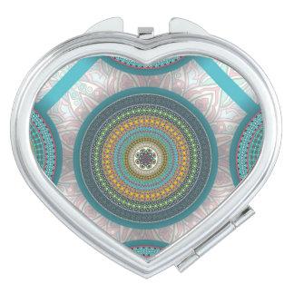 Espejo Compacto Modelo floral étnico abstracto colorido de la