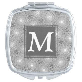 Espejo Compacto Modelo gris de los círculos del monograma