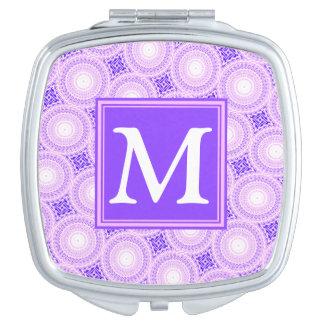 Espejo Compacto Modelo púrpura de los círculos del monograma