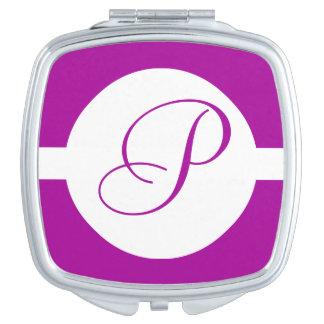 Espejo Compacto Monograma púrpura brillante del círculo