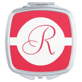 Espejo Compacto Monograma rojo intrépido del círculo