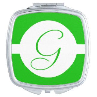 Espejo Compacto Monograma verde claro del círculo