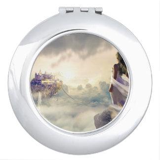 Espejo Compacto Mujer de la fantasía y castillo de la isla en las