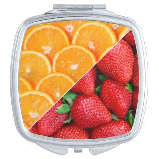 Espejo Compacto Naranjas y collage de las fresas