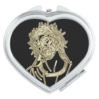 Espejo Compacto Oro Jesús que mira para arriba a dios que brilla