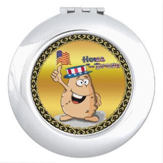 Espejo Compacto Patata patriótica con el gorra americano y una