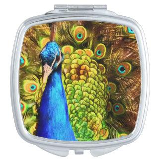 Espejo Compacto Pavo real colorido