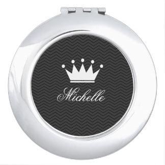 Espejo compacto personalizado con la corona de la